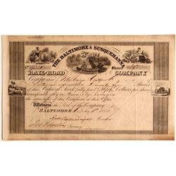 The Baltimore & Susquehanna Rail-Road (Rail Road) Co. Stock, 1852  (111050)