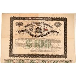 Emmittsburg Railroad Co $100, 1st Mortgage Gold Bond, 1874  (111082)