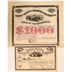 Boston, Clinton & Fitchburg Railroad Co Stock and Bond Certificates (2)  (111107)