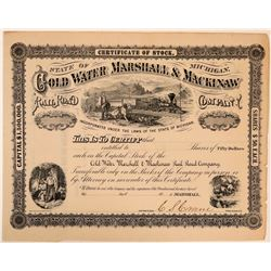 Cold Water Marshall & Mackinaw Rail Road Co Stock Certificate  (111202)