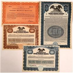 Eastern Michigan Railways Common Stock Certificates and Specimen Bonds (Lot of 4 Items)  (111098)