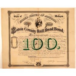Eaton County Rail Road Bond, Michigan, 1866  (111057)