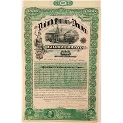 Duluth, Huron and Denver Railroad Co. $1000 1st Mtg. Bond, 1887  (111017)