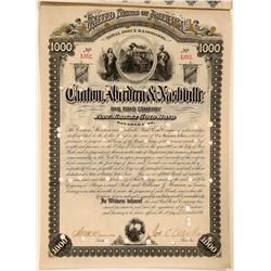 Canton, Aberdeen & Nashville Rail Road Company Bond, 1884  (111305)