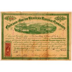 Chicago & South Western Railway Co Stock Certificate, 1870  (111230)