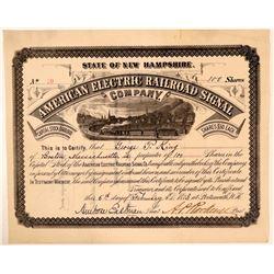 American Electric Railroad Signal Company Stock, 1883  (111067)