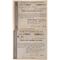 Concord & Claremont Rail Road Stock Certificates, 1849 and 1852  (111208)