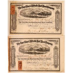 Cape May & Millville Rail Road Co Stock Certificates (2)  (111153)