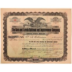 Coro and Lavela Railroad & Improvement Co Stock, N.J. 1898  (111190)