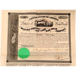 Buffalo Corning & New York Rail Road Co Bond, 1853  (111104)