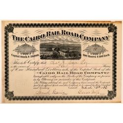 Cairo Rail Road Co Stock Certificate, Catskill, N.Y. 1886  (111258)