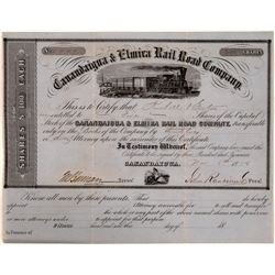 Canandaigua & Elmira Rail Road Co Stock Certificate, 1856  (111149)