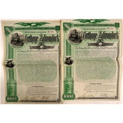 Carthage & Adirondack Railway Co Bonds (2), 1892  (111143)