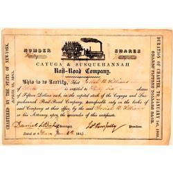 Cayuga & Susquehannah Rail-Road Company Stock, 1843  (111077)