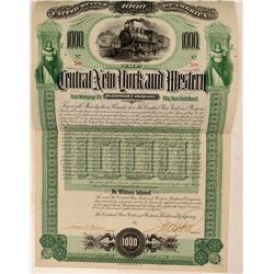 Central New York & Western Railroad Co Bond, 1892  (111216)