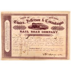 Elmira, Jefferson & Canandaigua Rail Road Co Stock, 1859  (111078)