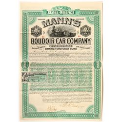 Mann's Boudoir Company First Mortgage Bond, 1886  (112821)