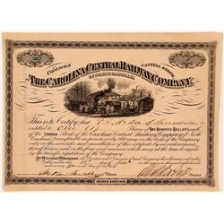 Carolina Central Railway Co Stock Certificate, 1874  (111065)