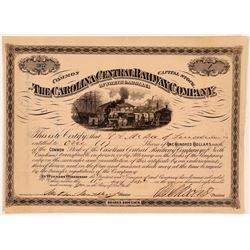 Carolina Central Railway Co Stock Certificate, 1874  (111065)