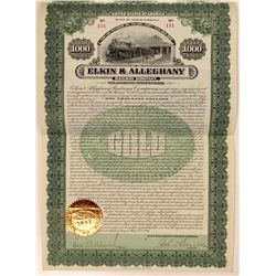 Elkin & Allegheny Railway Co Bond Certificate  (111290)