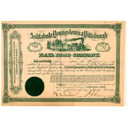 Ashtabula, Youngstown & Pittsburgh Rail Road Co Stock Certificate, 1874  (111066)