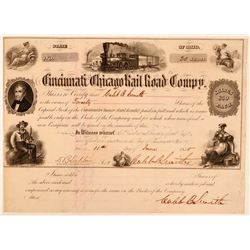 Cincinnati & Chicago Rail Road Co Stock, 1855, Signed by Caleb Smith  (111089)