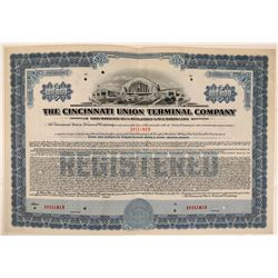 Cincinnati Union Terminal Co Bond Specimen, Blue, Series F, $100,000- Rare  (111179)