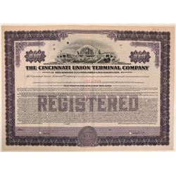 Cincinnati Union Terminal Co Specimen Bond, Series G, Purple, $10,000- Rare  (111312)