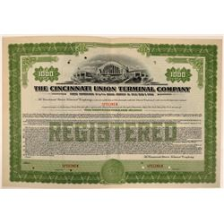 Cincinnati Union Terminal Co Bond  Specimen, Green, Series D, $1,000- Rare  (111176)