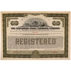 Cincinnati Union Terminal Co Bond Specimen, Green, Series B, $100,000- Rare  (111181)