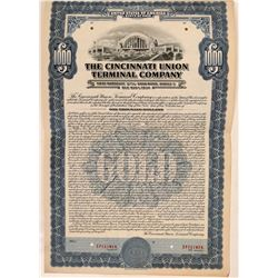 Cincinnati Union Terminal Co Bond Specimen, Blue, Series C, $1,000- Rare  (111177)