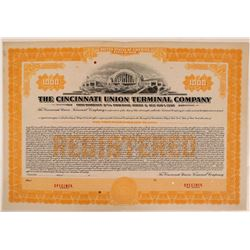 Cincinnati Union Terminal Co Bond Specimen, Orange, Series C, $1,000- Rare  (111178)