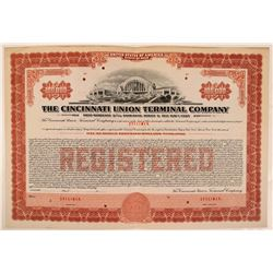Cincinnati Union Terminal Co Bond Specimen, Red, Series C, $100,000- Rare  (111180)