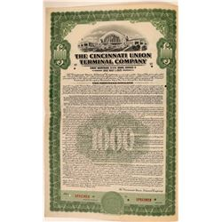 Cincinnati Union Terminal Co Bond Specimen, Green, Series D, $1,000- Rare  (111184)