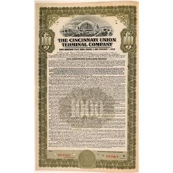 Cincinnati Union Terminal Co Bond Specimen, Olive, Series E, $1,000- Rare  (111185)