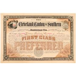 Cleveland, Canton & Southern Railroad Co Preferred Stock, 1893  (111144)