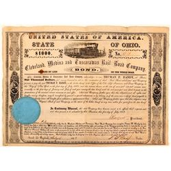 Cleveland, Medina & Tuscarawas Rail Road Co $1,000 Bond Issued 1853  (111087)