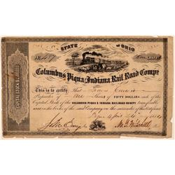 Columbus Piqua & Indiana Rail Road Co Stock, 1854, Rare Uncancelled  (111211)