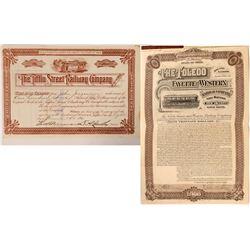 Ohio Railway stock/bond  (112989)