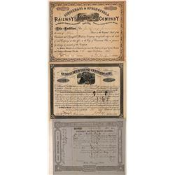 Three Nice Cincinnati Railroad Stock Certificates  (111244)