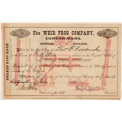 Weir Frog Company, Cincinnati Stock Certificate, 1886  (111344)