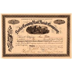 Berks County Rail Road Company Stock Certificate, 1873  (111053)