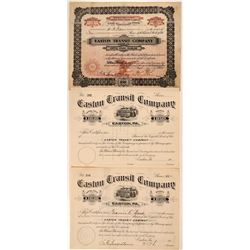 Easton Transit Company Stock Certificates Includes #1  (111081)