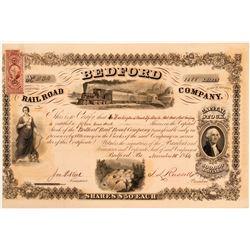 Bedford Rail Road  Company Stock Certificate, 1864, Rare  (111032)