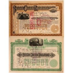 Beech Creek Railroad Co Common and Preferred Stocks, 1886  (111234)