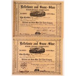 Bellefonte and Snow=Shoe Rail Road Company Stocks, (2), 1859 and 1878  (111034)