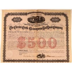 Chester Creek & Brandywine Rail Road Co Bond, 1874  (111263)