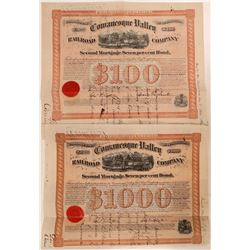 Cowanesque Valley Rail Road Co Bond Certificates (2)- Unlisted  (111286)