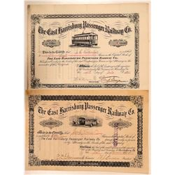 East Harrisburg Passenger Railway Co Stocks (2)- Different Formats  (111058)