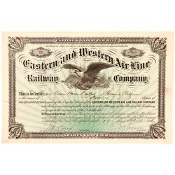 Eastern and Western Air Line Railway Co Stock Certificate, 1886  (111060)